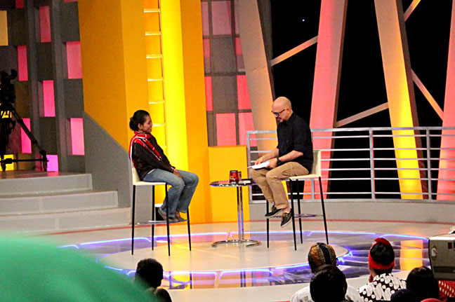 Ary Amhir saat diwawancara oleh Andy F. Noya, host Kick Andy