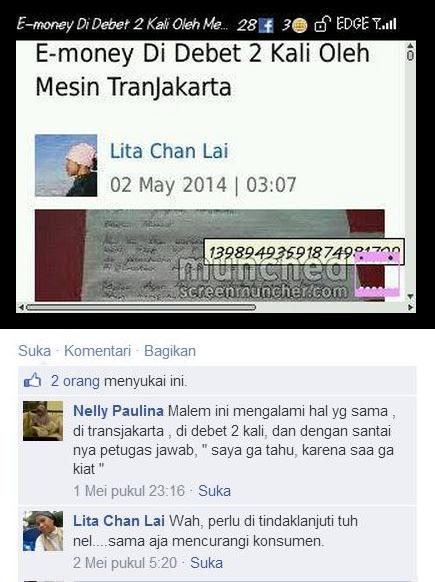 Seorang penumpang lain yang juga mengalami e-Tiketnya di debet dua kali, saa memberikan komentarnya di status Lita Chan Lai